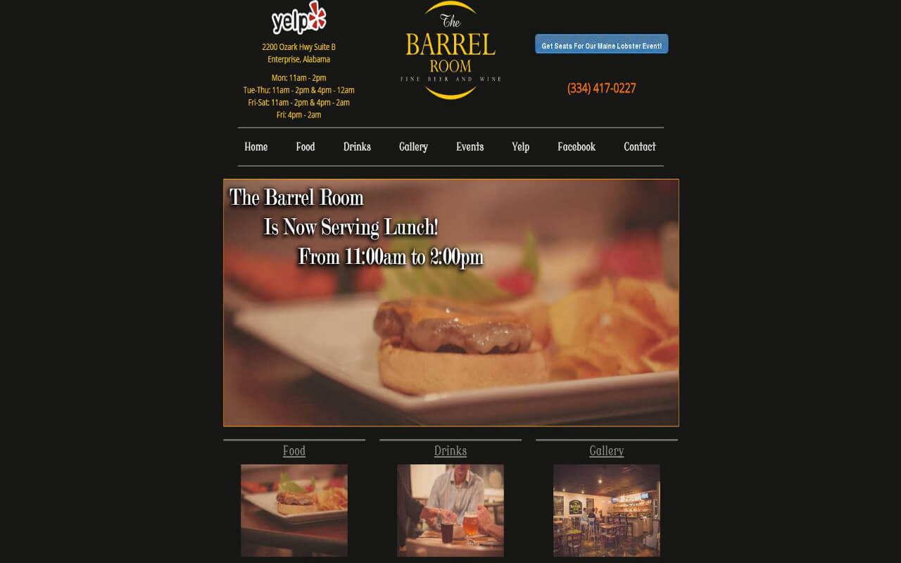 Wilson Computer Support designed a website to advertise a Fine Dining restaurant located in Enterprise, Alabama.