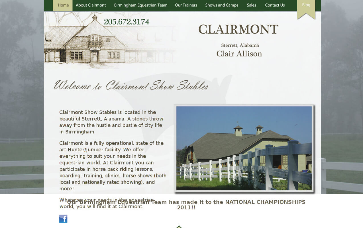 Clairmont is a fully operational, state of the art Hunter/Jumper facility. We offer everything to suit your needs in the equestrian world. At Clairmont you can participate in horse back riding lessons, boarding, training, clinics, horse shows (both local and nationally rated showing), and more!
