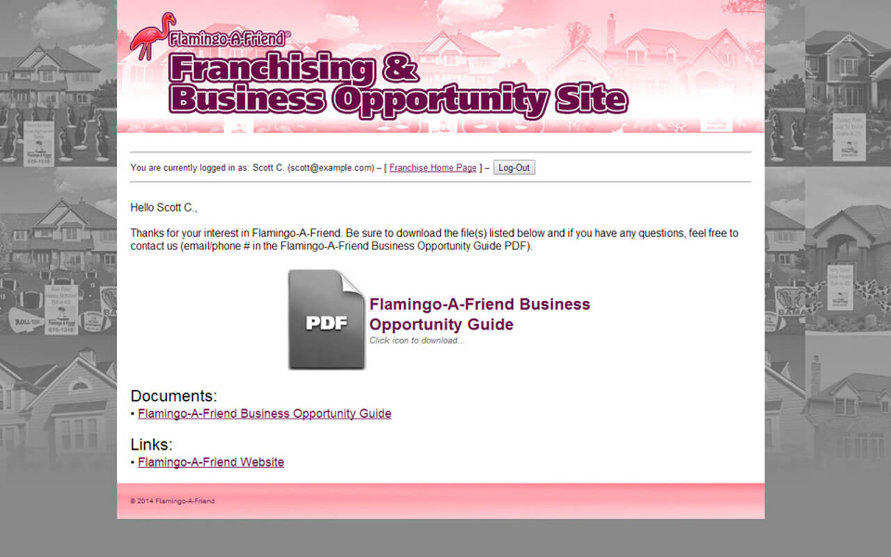 Flamingo-A-Friend Franchise Site