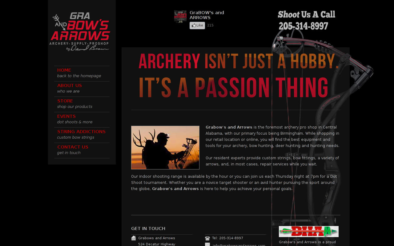Grabow's and Arrows is the foremost archery pro shop in Central Alabama, with our primary focus being Birmingham. While shopping in our retail location or online, you will find the best equipment and tools for your archery, bow hunting, deer hunting and hunting needs.