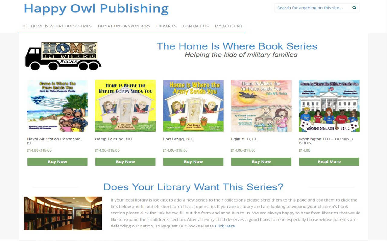 A redesign of the Happy Owl Publishing was made to showcase the Home is Where Book series