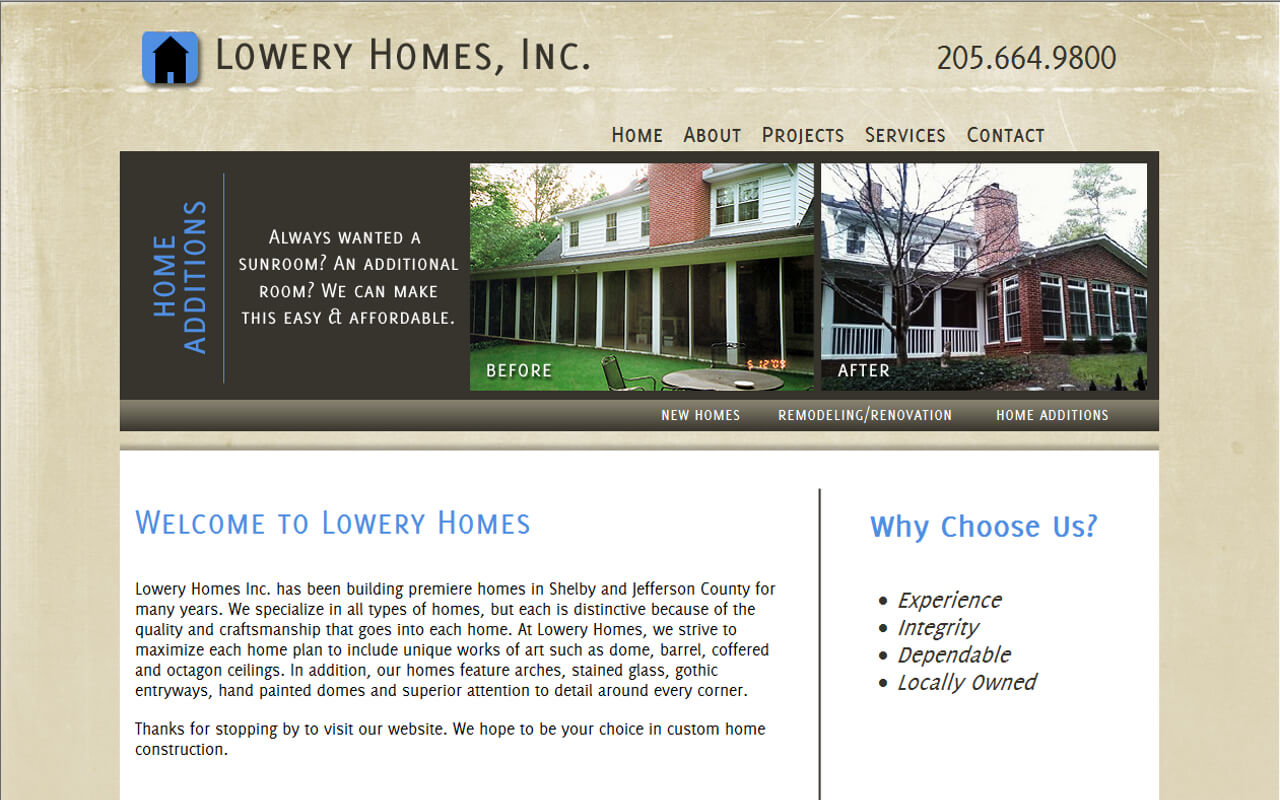 Lowery Homes Inc. has been building premiere homes in Shelby and Jefferson County for many years. We specialize in all types of homes, but each is distinctive because of the quality and craftsmanship that goes into each home. At Lowery Homes, we strive to maximize each home plan to include unique works of art such as dome, barrel, coffered and octagon ceilings. In addition, our homes feature arches, stained glass, go...
