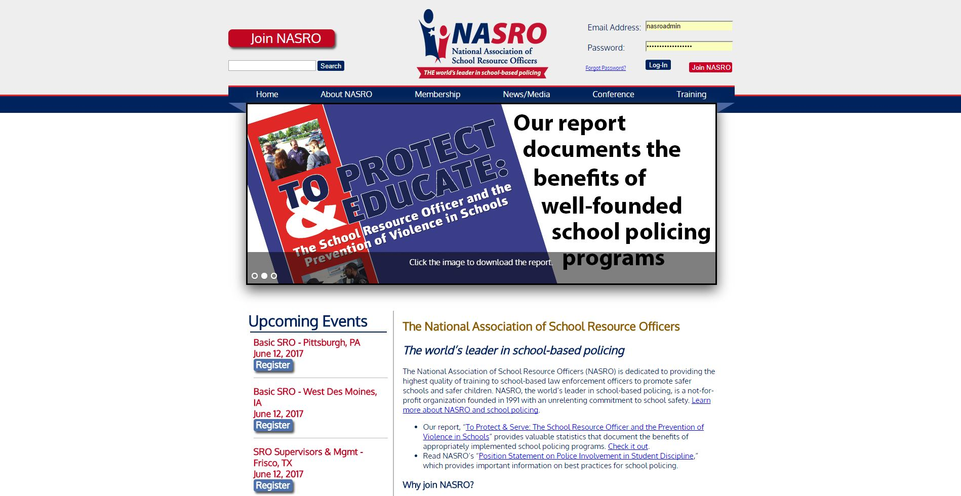 The National Association of School Resource Officers (NASRO) is dedicated to providing the highest quality of training to school-based law enforcement officers to promote safer schools and safer children.