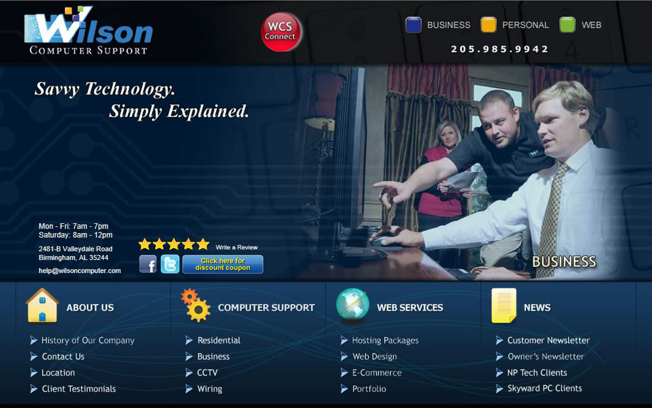 No matter what business you are in, technology has become more and more a part of your daily work life. Wilson Computer Support was established to make that technology work for you to accomplish more, not less, as time goes by.